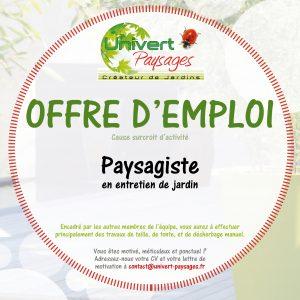 offre d'emploi, paysagiste en entretien de jardin, jardinier, travail, pays de gex