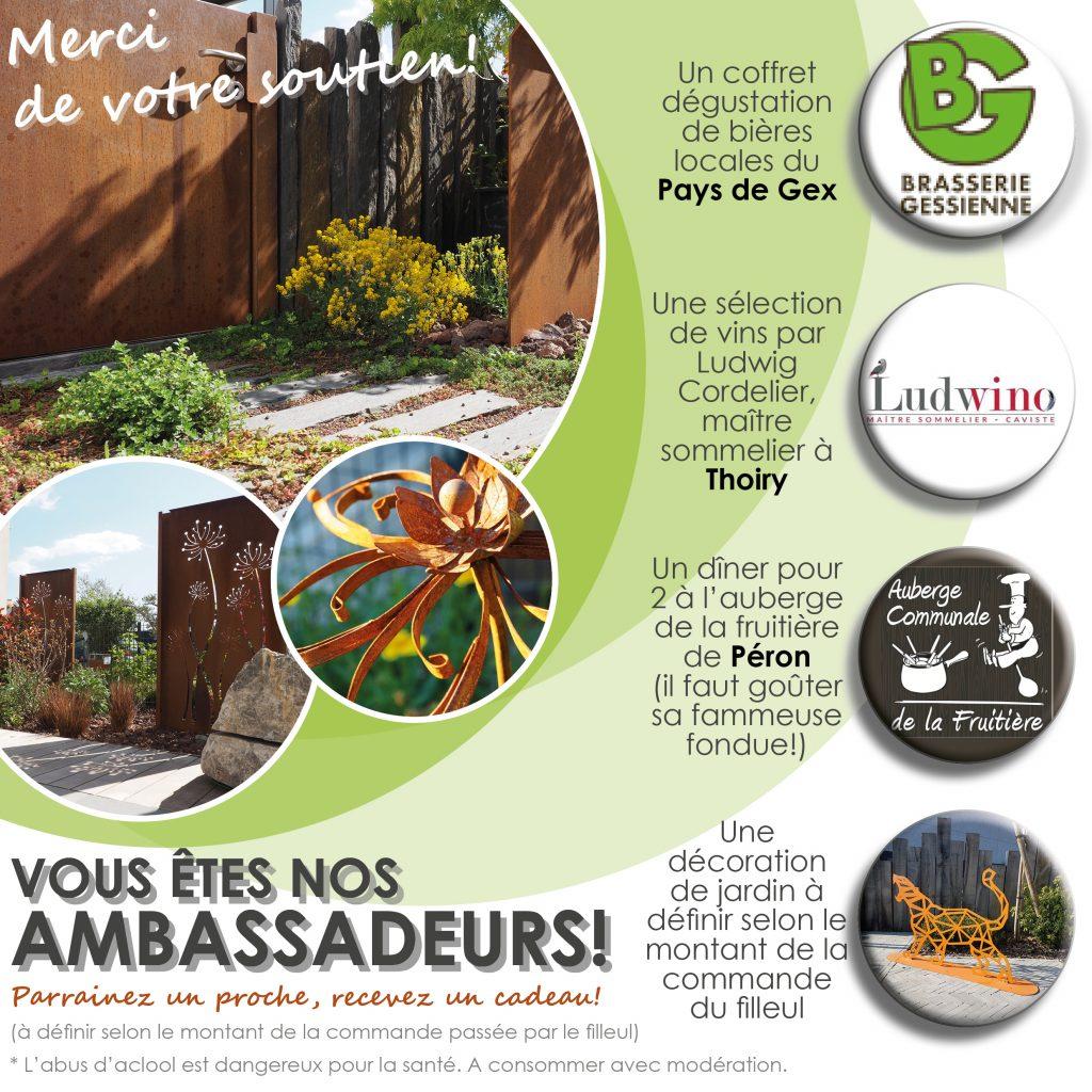parrainage cadeau client paysagiste pays de gex . entretien de jardin divonne ferney thoiry jardinier jardin plantation terrasses pdg