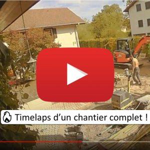 timelaps chantier paysagiste pays-de-gex prévessin. aménagement cour terrasse-bois pavés