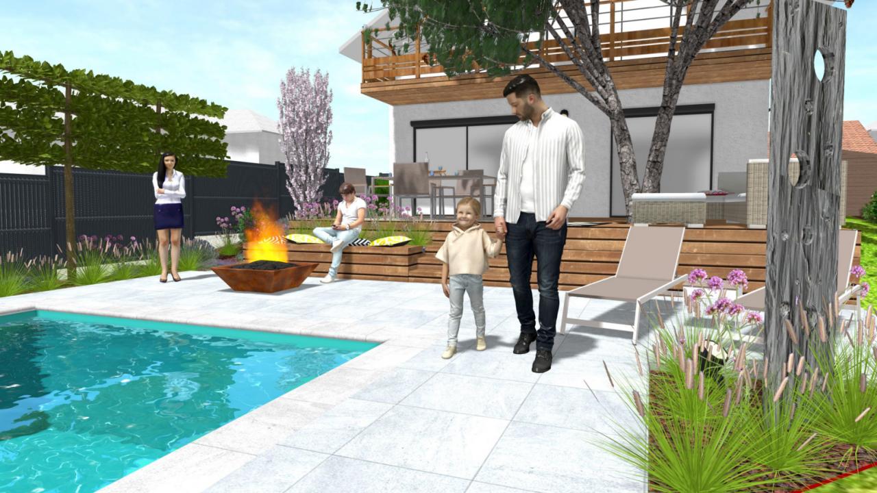 paysagiste aménagement de jardin dans le pays de gesx terrasse cour et allées conception 3D architecte paysagiste